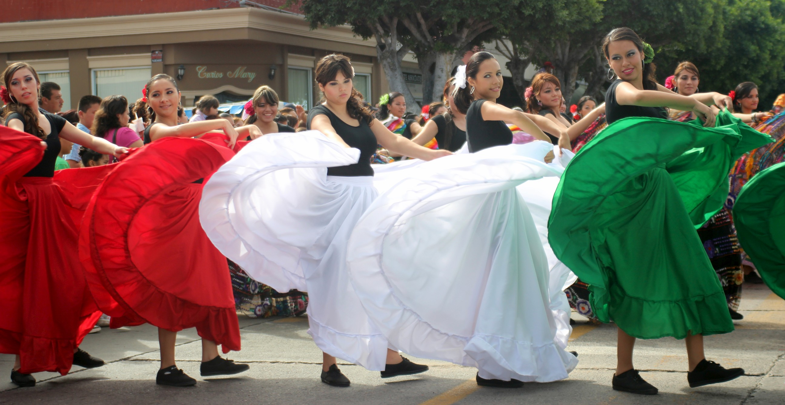 twirling skirt Mexican Flag theme skirt twirling